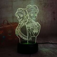 Load image into Gallery viewer, 3D LED Night Light Elsa/Anna Girl Princess Gift Cartoon figure Bulbing Desk Table Lamp Flash Gadget Decor Bedroom for Kids Gift