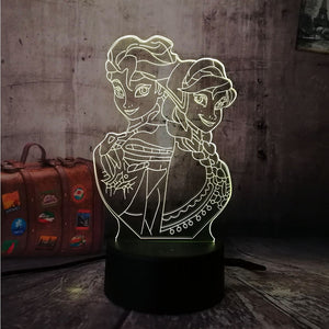 3D LED Night Light Elsa/Anna Girl Princess Gift Cartoon figure Bulbing Desk Table Lamp Flash Gadget Decor Bedroom for Kids Gift