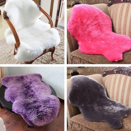 2-in-1 Hairy Carpet Faux Sheepskin Chair Cover Seat Pad Artificial Fur Plain Fluffy Rugs Bedroom Faux Mat Washable Baby blanket