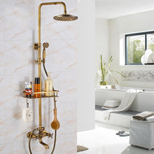 Load image into Gallery viewer, Uythner Shower Set Wall Mounted Antique Brass 8 Inch Round Rainfall Shower Head Wide Tub Spout Brass Hand Sprayer Mixer Tap
