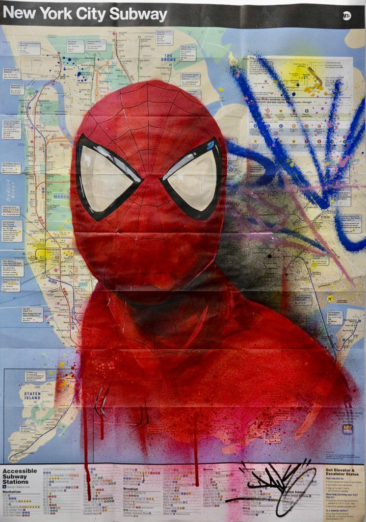 "Plan de Métro NYC ""Spider Man"" Face"
