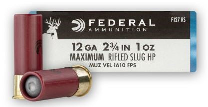 "FED. 12GA 2 3/4"" MAX. 1 oz SLUGS"