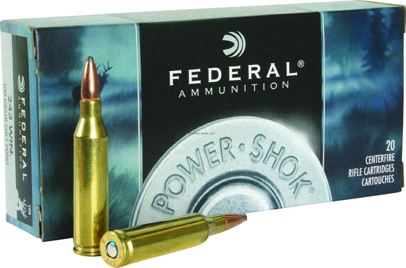 Federal 243B Power-Shok Rifle Ammo 243 WIN, SP, 100 Grains, 2960 fps, 20, Boxed (090032)