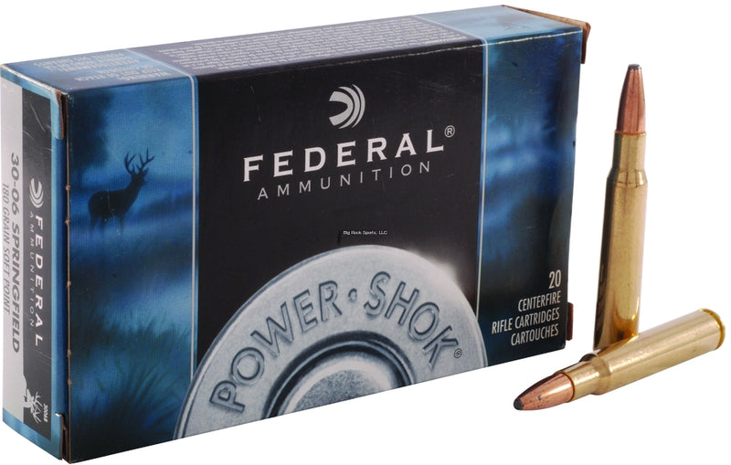 Federal 3006B Power-Shok Rifle Ammo 30-06 SPR, SP, 180 Grains, 2700 fps, 20, Boxed (090053)