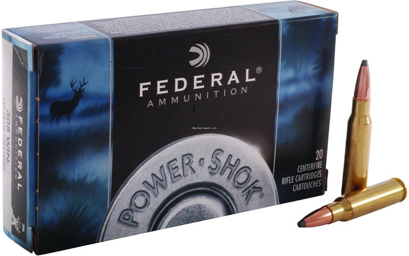 Federal 308A Power-Shok Rifle Ammo 308 WIN, SP, 150 Grains, 2820 fps, 20, Boxed (090060)