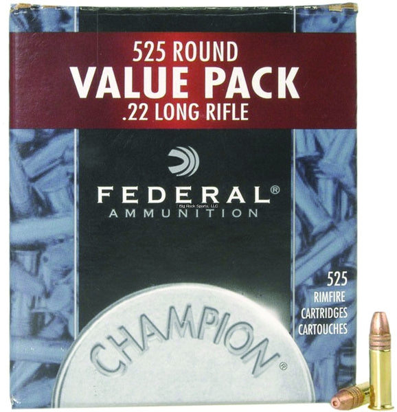 Federal 745 Champion Rimfire Rifle Ammo 22 LR, Copper Plated HP, 36 Grains, 1260 fps, 525 Rounds, Boxed