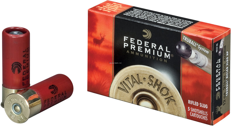 Federal PB127-RS Vital-Shok TruBall Rifled Slugs 12 GA, 2-3/4 in, 1 oz, 4 Dr, 1600 fps, 5 Rnd per Box