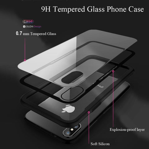 Image of Tempered Glass Phone Case For iPhone X Xs Max Transparent Protective Glass Cases For iPhone 8 7 Plus Cover Coque Capinha