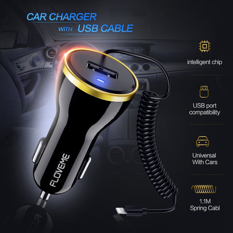 Image of USB Car Charger For iPhone X 8 7 Plus Xs Max 2.1A Car-Charger With Micro Type C USB Cable For iPhone Smartphone Chargers
