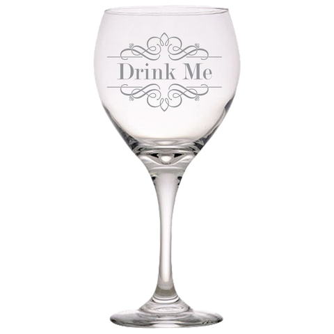 Drink Me Red Wine Glass Laser Etched