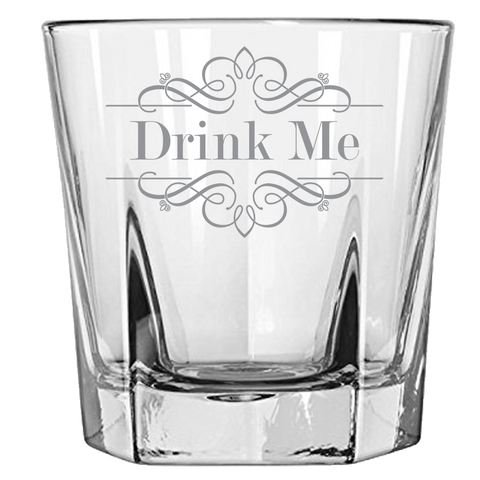 Drink Me Rock Glass Laser Etched