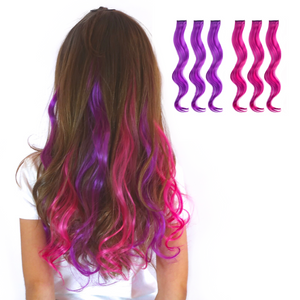 Purple and pink curled clipin hair extensions for kids