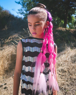 Clip-in boho braid hair extensions for kids and teens