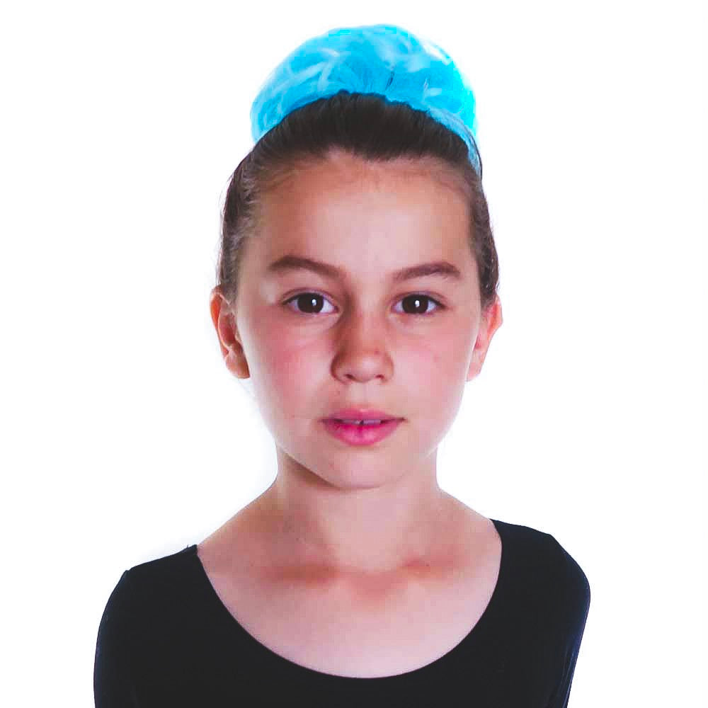 Young ballet dancer with blue aqua hair piece chignon
