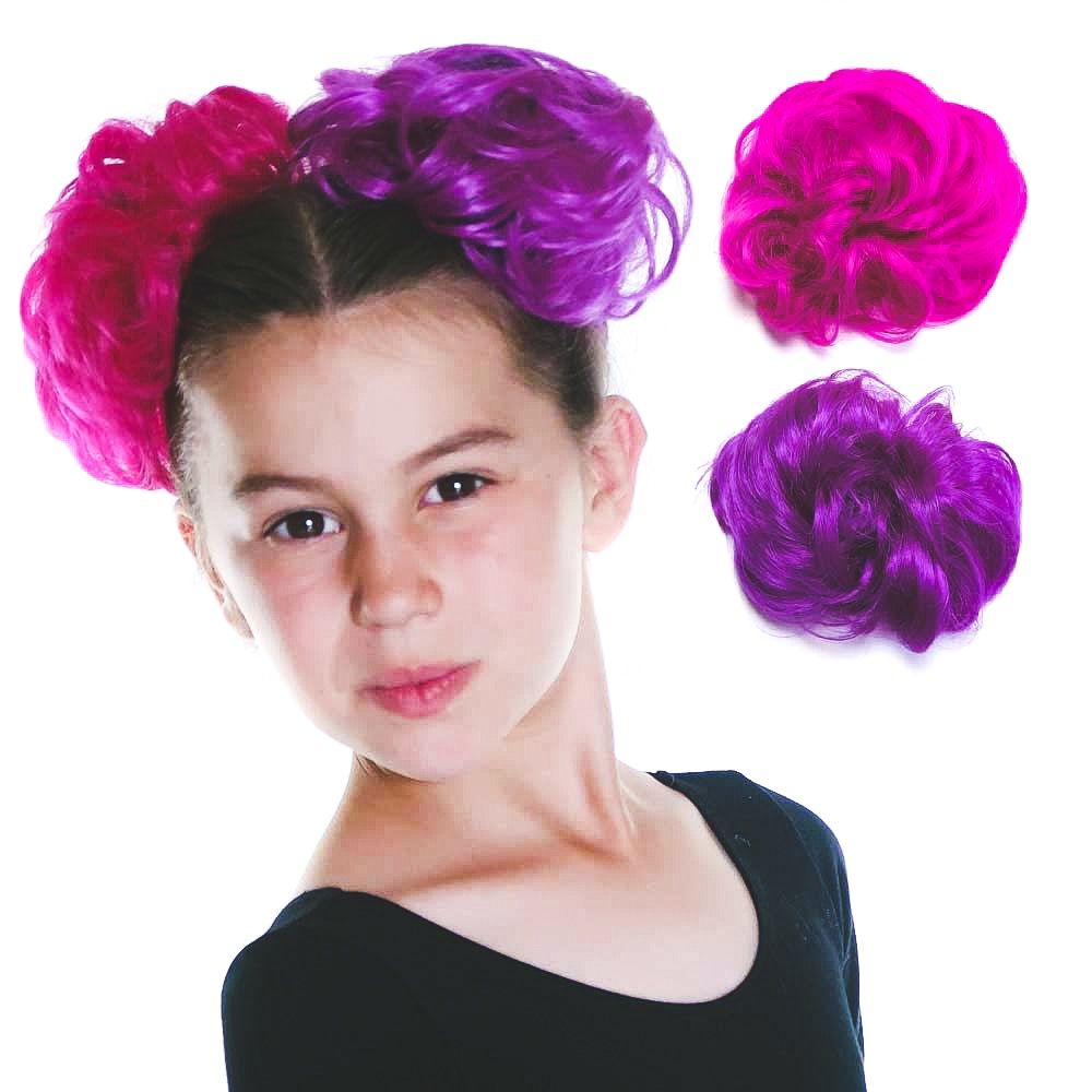 Young model with purple and hot pink curly hair buns