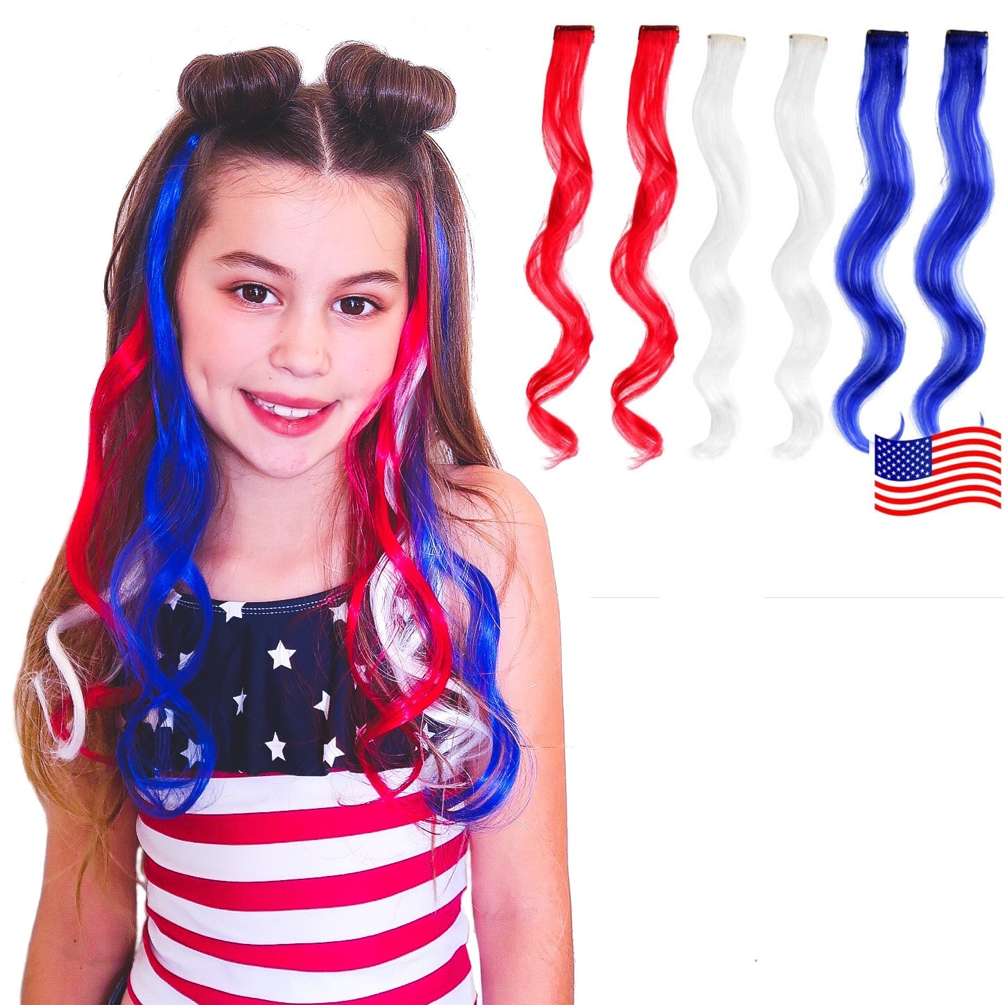 USA Patriotic Pack Red, White and Blue curly clip-in synthetic hair extensions