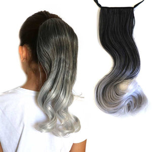 Black to silver curly ponytail extension