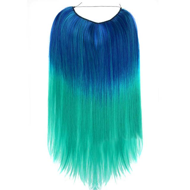 Product shot of teal blue to aqua straight Magic Mane halo hair extension against a white background