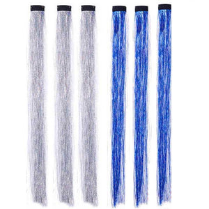 Holiday tinsel in silver and bright blue hair clip-in extensions