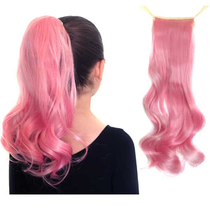 Cotton Candy pink synthetic ponytail hair extensions for kids and teens