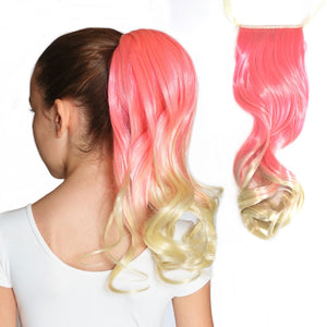 Cupcake bright pink to blonde ombre curly synthetic hair extensions for ponytails
