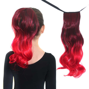 Dark red to red ombre ponytail hair extensions for kids.