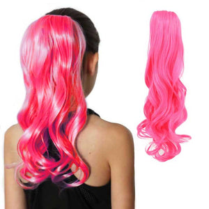 Electra neon pink ponytail extension long and curly
