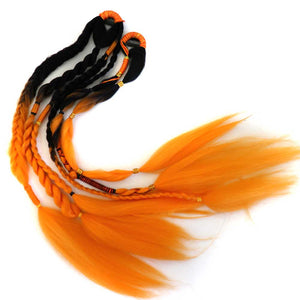 Orange and black clip-in hair extensions for Halloween