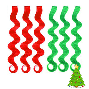 Holiday hair extensions in red and green clip-in hair extensions curled in a ringlet for girls and kids.