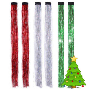 Holiday Tinsel Hair Bling clip-in tinsel hair for Christmas