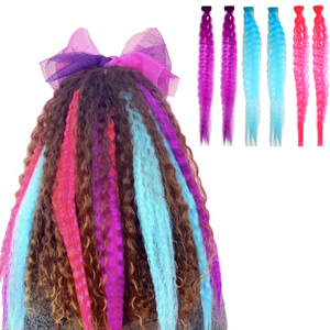 Multi-color set of clip-in hair extensions for very curly, tight wavy hair in neon pink, bright purple and aqua blue