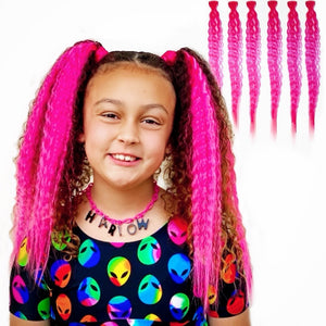 Neon Pink Tight Wave 6 Pack Clip-in Hair Extensions