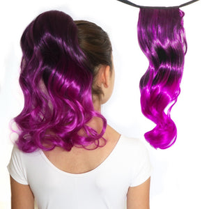 Violet Black/Vivid Purple Curly Ombre Ponytail Hair Extensions