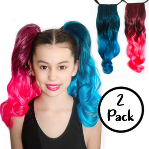 Harley Quinn 2-Pack Curly Ponytail Hair Extensions