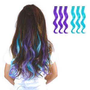 Purple and aqua blue curled clip-in hair extensions for kids