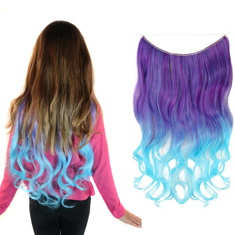 Jellybean Magic Mane in purple, lavender, aqua ombre halo hair extension worn by a young model next to the product on a white background