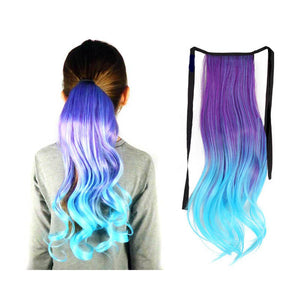 Ponytail hair extension in purple to lavender to aqua ombre