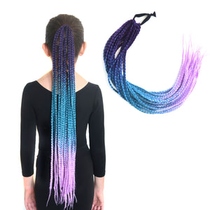 Purple, aqua blue and pastel lavender box braided ponytail extension for kids