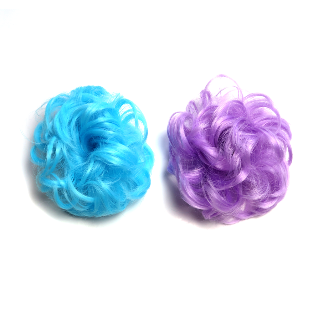 Set of two hair pieces to be worn as a fluffy hair bun in aqua blue and light pastel purple