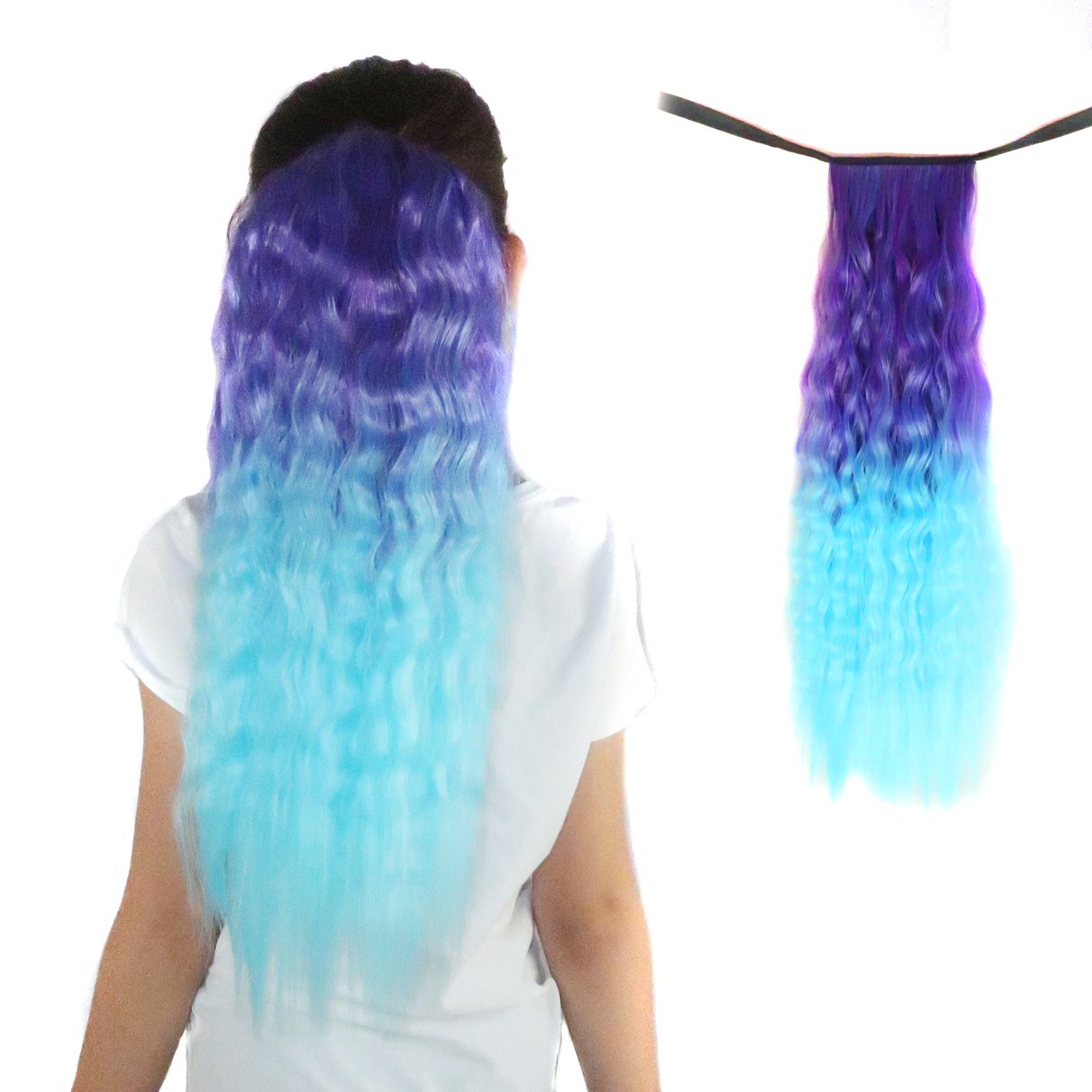 Jellybean Purple/Aqua Wavy Ombré Ponytail Hair Extensions