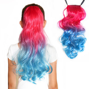 Mermaid hair extensions in hot pink to ocean blue ponytail extensions for kids