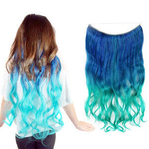 Model wearing a teal blue and aqua ombre halo hair extension next to the product image against a white background.