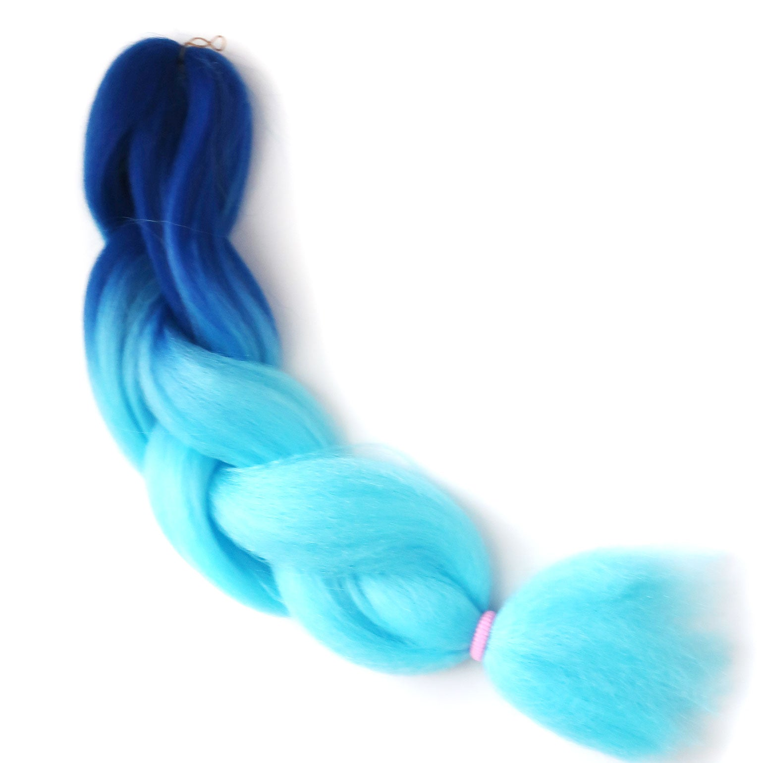 Neptune jumbo braid multi-purpose braiding hair in bright blue to light blue.