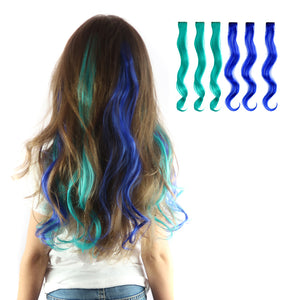 Neptune Curly Clip-in Hair Extensions for girls in teal blue and aqua green.