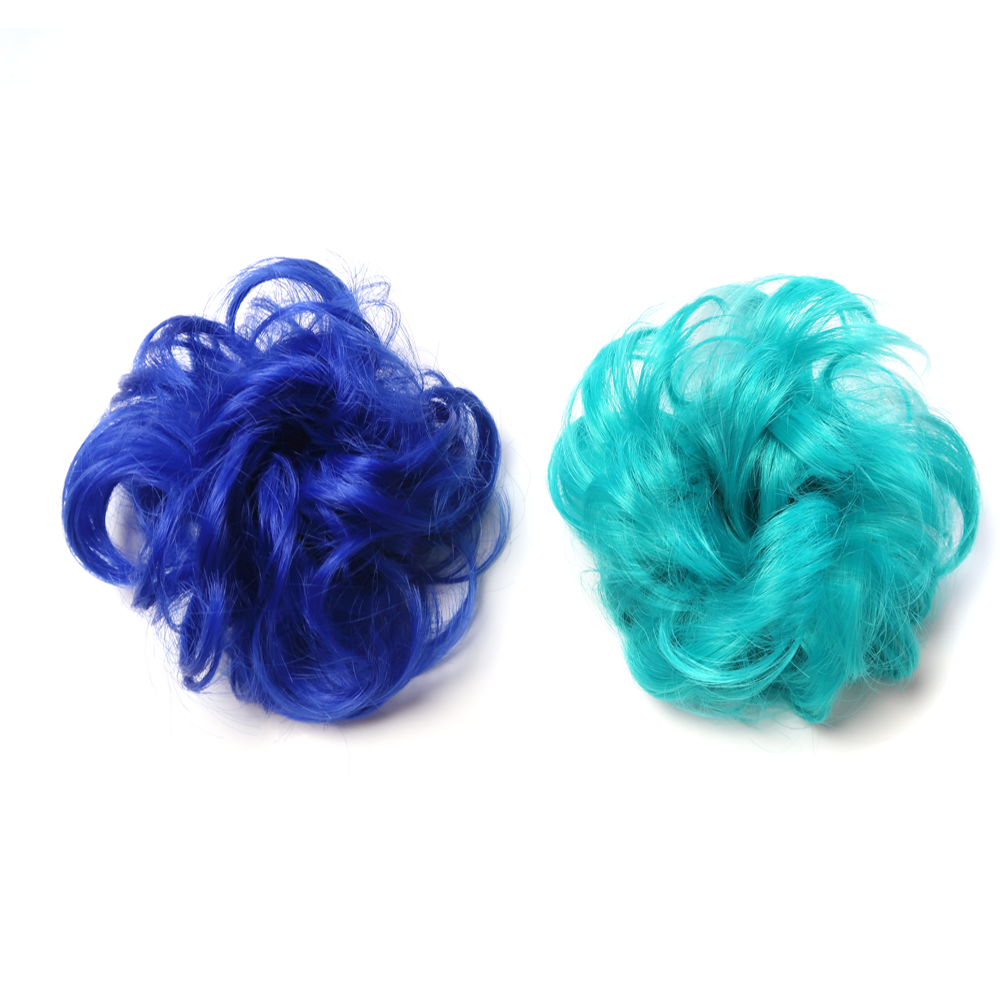 Royal blue and sea green hair bun hairpieces fluffy and curly chignon Extensions.