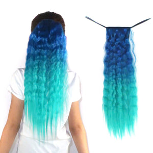 Teal blue to sea green ombre wavy ponytail hair extensions for kids and teens