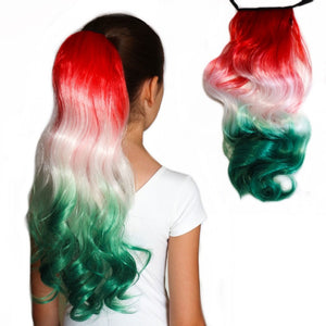 Christmas hair extension  in red to white to green ombre.  Synthetic ponytail hair extensions for kids
