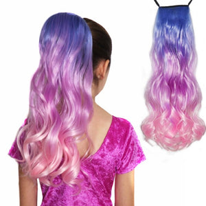 Pastel ponytail extension in baby blue, lavender lilac purple and soft pink