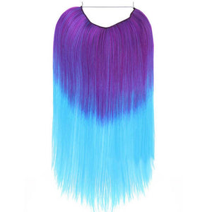Product image of purple lavender aqua blue halo hair extensions in straight texture