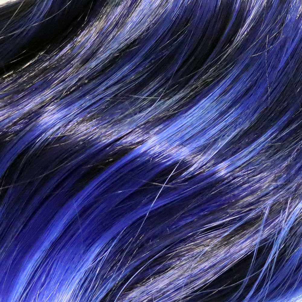 Close up detail of dark blue and royal blue ombre synthetic hair extension